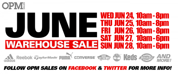 OPM Warehouse Sale 2015年6月特卖会,Adidas、Puma等品牌3折起特卖,仅限6月24日-28日