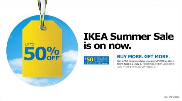 Ikea 6月15日-7月6日夏季特卖5折起(实际为1.5折起),满200元送50元优惠券