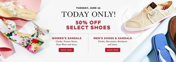 Calvin Klein, Nine West, Clarks等多个品牌男女鞋子半价特卖