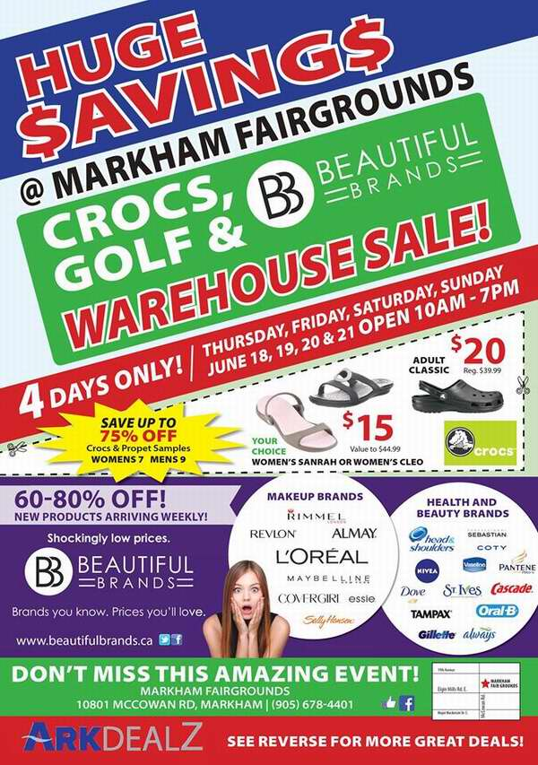 Beautiful Brands Cosmetic Sale / Crocs & Golf Sale 特卖会,化妆品、保健品、日用品、鳄鱼鞋、高尔夫球具等2-4折清仓,仅限6月18日-21日