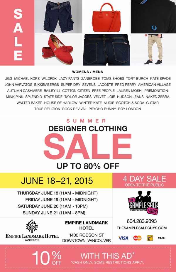 Vancouver Summer Designer Sample Sale样品特卖会,UGG、MK、Lacoste等品牌样品2折起清仓,仅限6月18日-21日