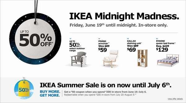 IKEA Midnight Madness本周五(6月19日)疯狂午夜促销活动,全天指定家具5折起特卖
