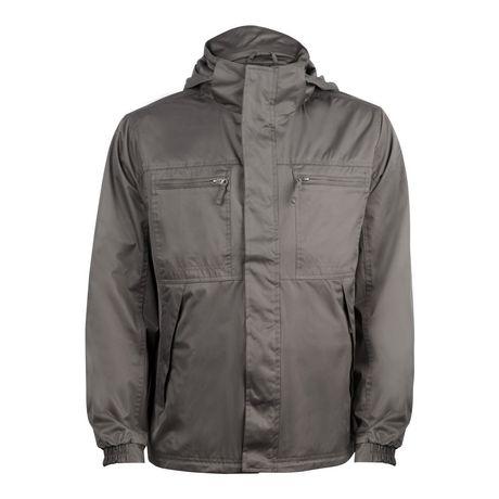 George Men's 4 Pocket Windbreaker Jacket带帽防风夹克(黑色、淡灰色)