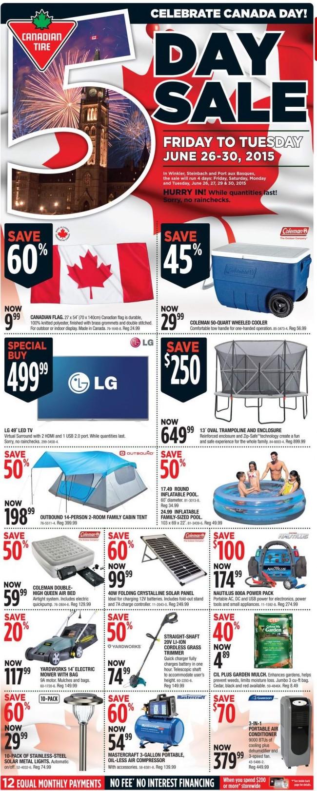 Canadian Tire本周(2015.6.26-2015.7.2)打折海报