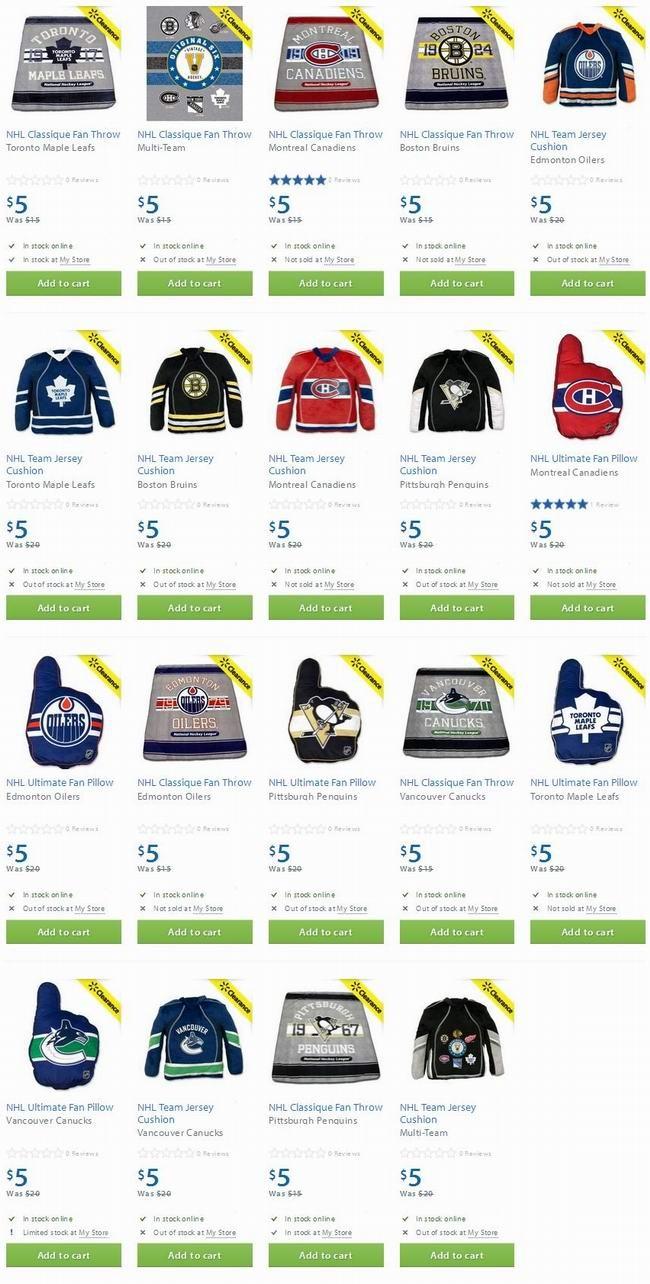 NHL球迷枕头、毯子及球衣靠垫全部5元清仓