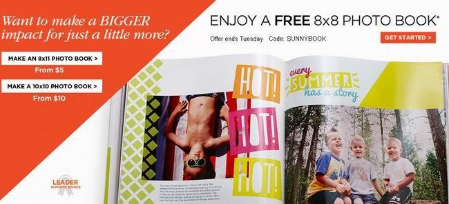 "Shutterfly免费8""x8""20页自行设计的硬壳照片书,仅需支付邮费!"