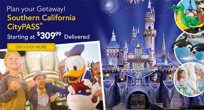 北美各地CityPass及游园门票特卖,南加州CityPass 310元起,含迪士尼乐园3日票、海洋世界及乐高乐园