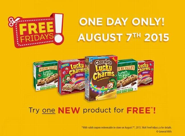 免费价值10.98元General Mills Cereal或Nature Valley Muesli提货券,仅限8月7日星期五提货