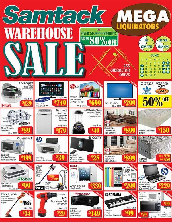 Samtack Warehouse Sale家电家具特卖会今日中午12时开卖,全场2折起,6月5日-28日