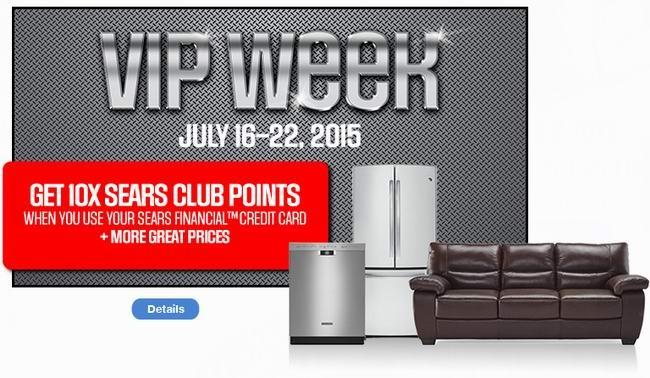 Sears信用卡VIP Week(7月16日-22日),网购家具床垫或大家电满1500元送20倍积分,网购家具床垫满500元或大家电满1500元返还送货费,另有精选1800余款商品3折起(不需是信用卡用户)4天限时特卖