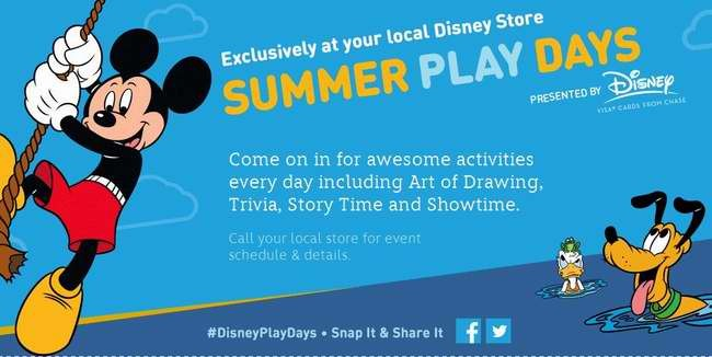 Disney Summer Play Days 迪士尼零售店暑期免费活动,每周送一款新徽章