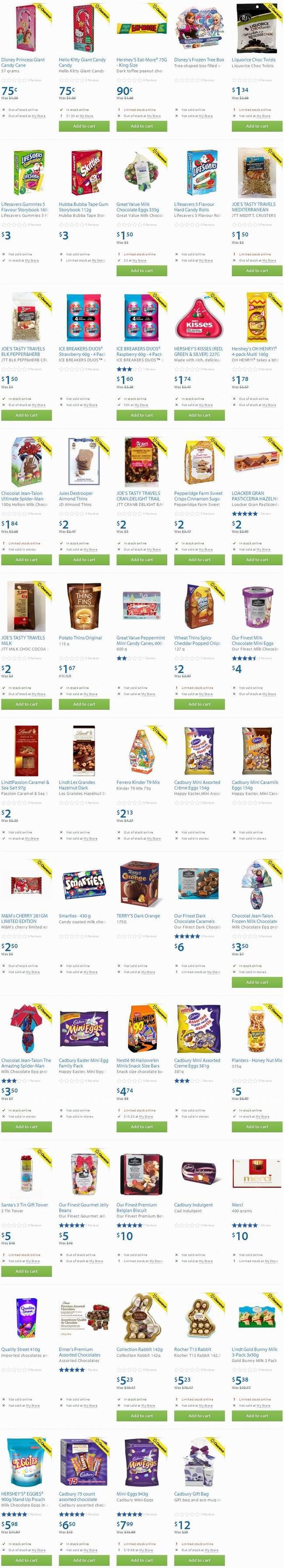 Walmart数十款巧克力、饼干等零食半价0.75元起清仓