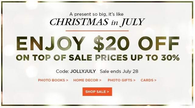 Shutterfly 全站满20元立减20元,7月28日前有效!