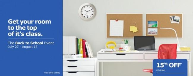 Ikea 返校季特卖活动,7月27日-8月17日所有书桌、办公桌8.5折特卖