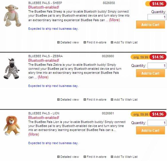 三款蓝牙毛绒玩具BLUEBEE PALS (SHEEP、ZEBRA、LION)2.5折清仓