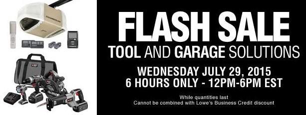 Lowe's今日下午6时前限时抢购,电动工具、工具箱、工具架、车库门开门器、垃圾箱、壁挂套装、推式路帚等4折起特卖