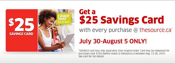 The Source 7月30日-8月5日期间网购就送满150元优惠25元折扣券