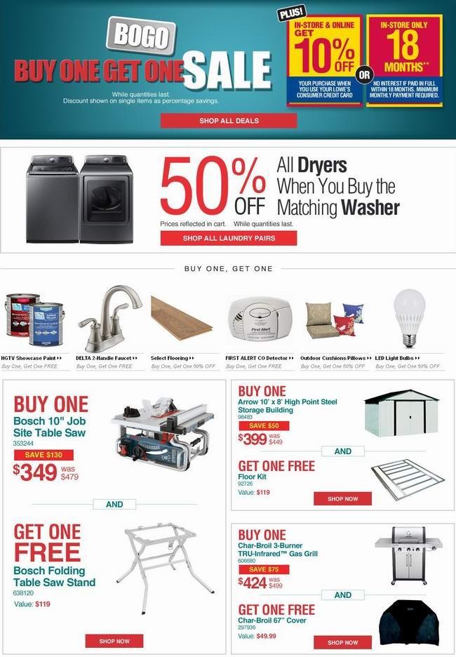 Lowe's 本周精选数百款商品买一送一(网购直接半价)或第二件半价,售完为止,8月5日前有效