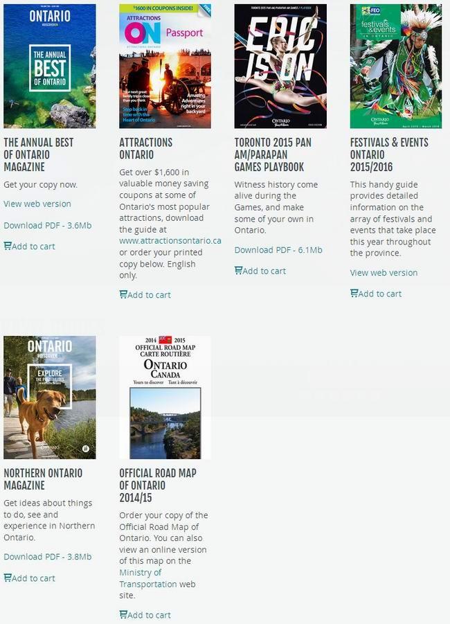 安省旅游局免费提供多份旅游杂志,景点折扣券及安省地图
