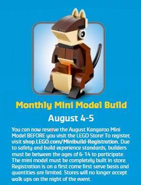 LEGO店内8月4日-5日小朋友搭建并免费赠送迷你袋鼠模型