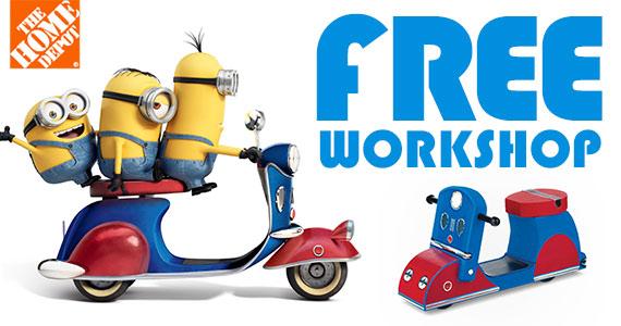 Home Depot 本周六(7月11日)免费儿童手工课,制作小黄人摩托车