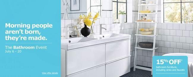 Ikea 浴室家具、水槽、水龙头全面8.5折,仅限7月6日-20日