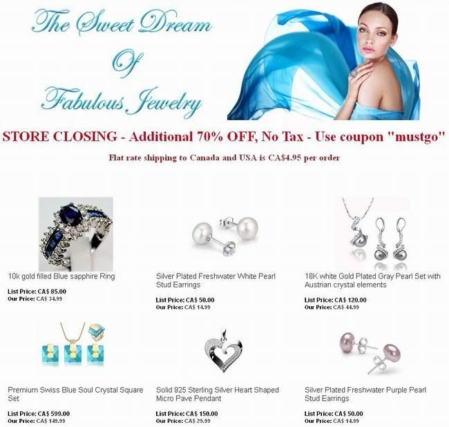 Blue Jade Jewelry停业清仓,全场首饰2折起,额外再打3折