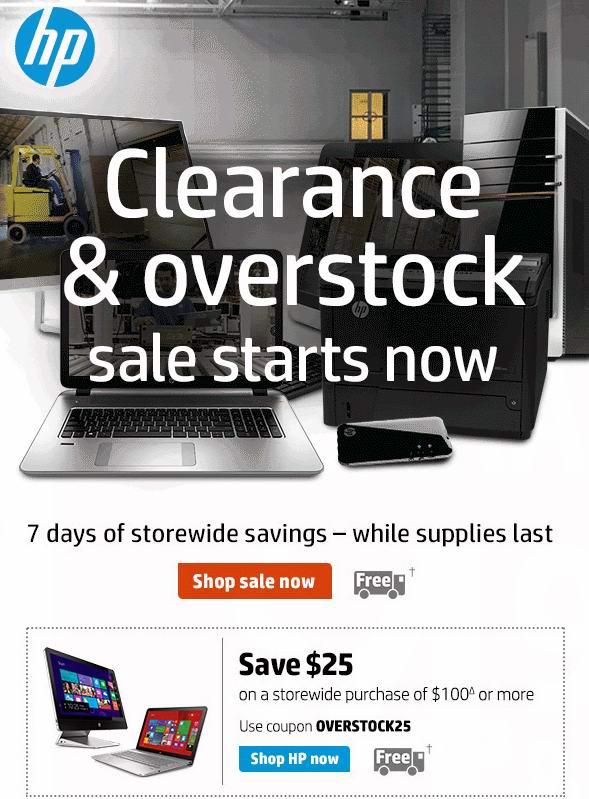 HP清仓大减价,全场满100元额外优惠25元!