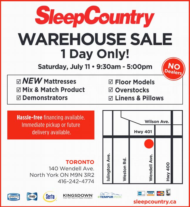 Sleep Country特卖会,多个名牌床垫床单枕头等特价清仓,多伦多7月11日,Cobourg及London 7月18日,仅售一天!