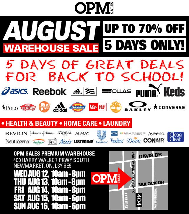 今天开卖!OPM八月返校季特卖会,Adidas、Puma、Reebok、Polo等品牌鞋子服饰,Revlon、L'Oreal、Johnson & Johnson等品牌美容化妆及保健品3折起特卖,仅限8月12日-16日
