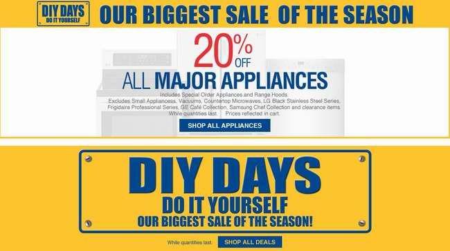 Lowe's DIY Days特卖活动,大家电全部8折,全站指定类别产品全面6-9折特卖