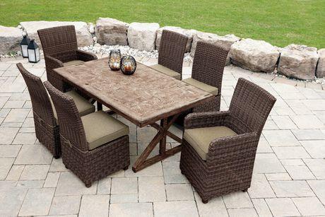 hometrends 7 Piece Faux Wood Dining Set室外仿木餐桌椅7件套