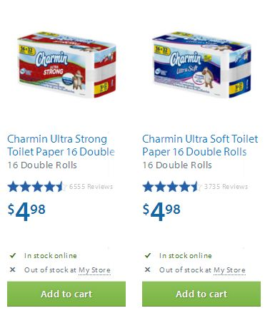 快!两款Charmin Ultra Strong/Soft Toilet Paper 16 Double Rolls双层卫生纸