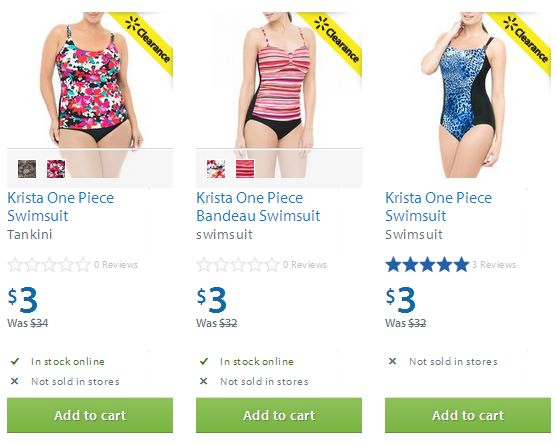 Walmart 三款 Krista One Piece Swimsuit 泳装0.9折3元清仓