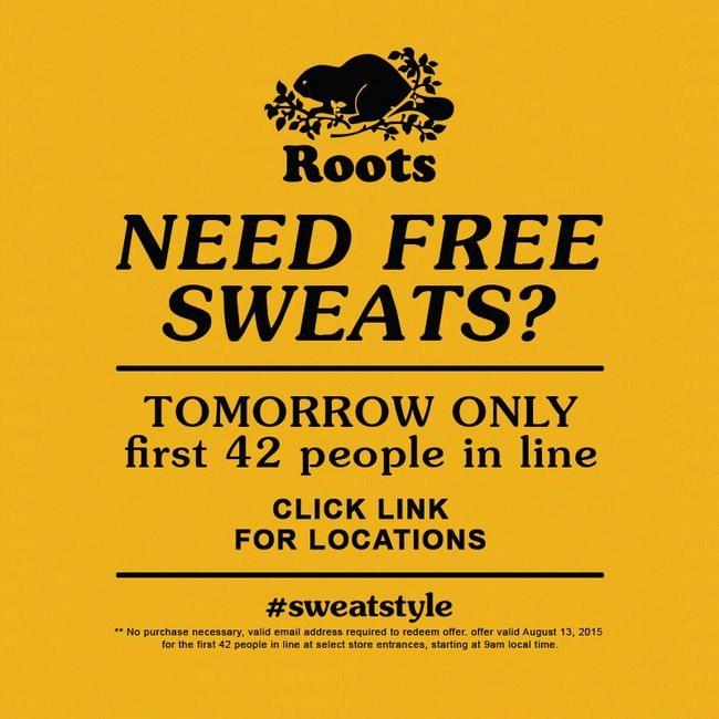 8月13日早上9点,到Roots门店领取免费运动裤!