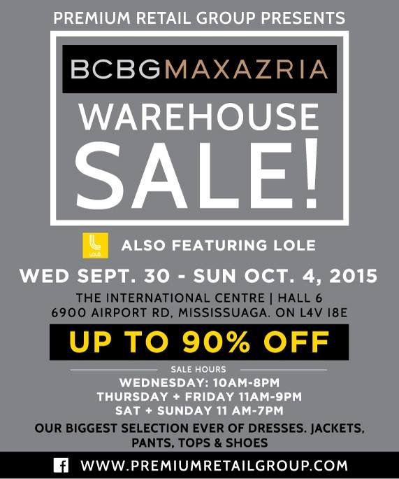 BCBG MAXAZRIA Warehouse Sale特卖会,服饰鞋子1折起清仓,仅限9月30日-10月4日