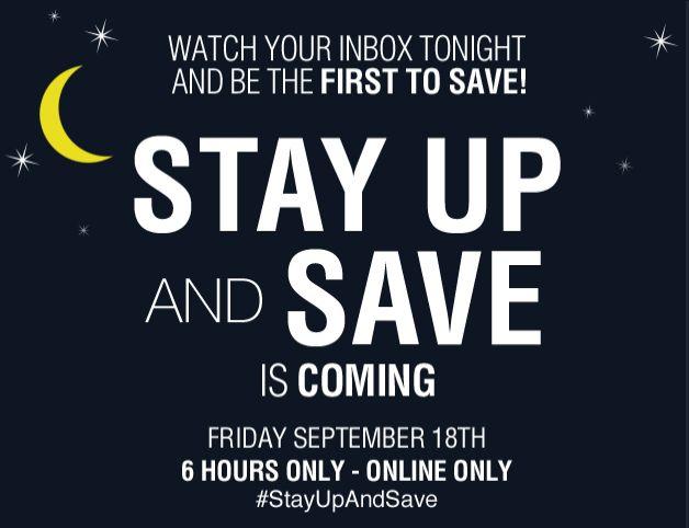Lowe's stay up and save 今夜6小时限时特卖,满50元额外优惠10元