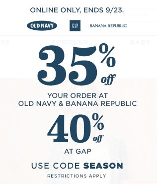 Banana Republic服饰额外5折,GAP额外6.5折,Old Navy成人服饰额外7.5折