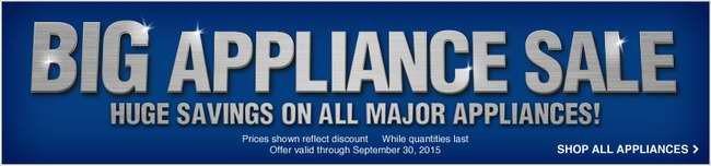 Lowe's大家电特卖周,9月30日前指定款冰箱、洗衣机、炉头、洗碗机等特价销售