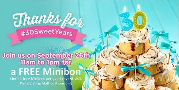 Cinnabon 30周年庆本周六(9月26日)上午11点-下午1点可免费品尝Minibon肉桂卷