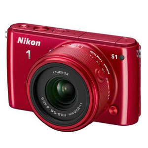 开箱品NIKON 1 S1 SYSTEM 10.1MP CAMERA - RED - OPEN BOX微单相机