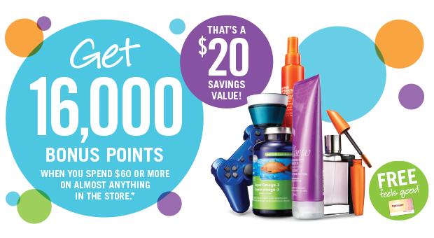 Shoppers Drug Mart本周五(10月9日)持积分卡购物满60元送价值20元积分