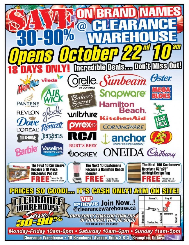 Brampton清仓特卖会,居家用品、美容护理品、玩具等1折起清仓(10月22日-11月8日)