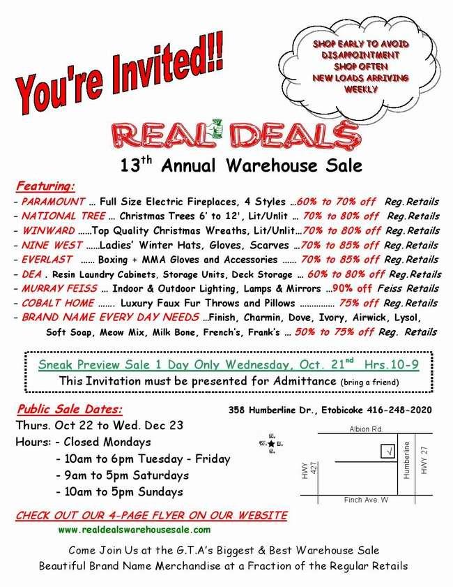 Real Deals 13th annual warehouse sale 特卖会,家居生活用品、服饰、电器、宠物用品等1折起清仓!(10月22日-12月23日)