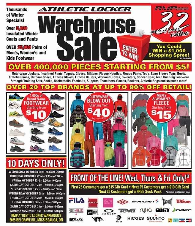 今日开卖!Athletic Locker Warehouse Sale年度特卖会,40万件服饰、鞋子、冬衣、冬裤、帽子、背包、运动器械、运动玩具等1折5元起清仓,满60元立减5元!(10月21日-11月1日)