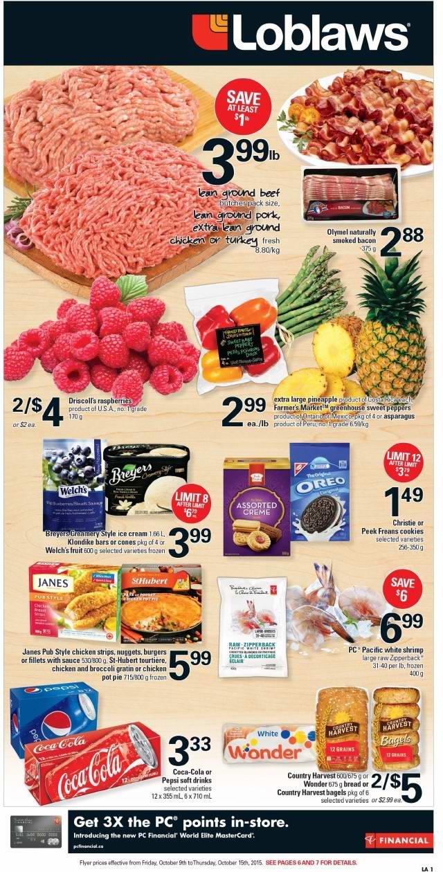 Loblaws超市本周(2015.10.9-2015.10.15)打折海报
