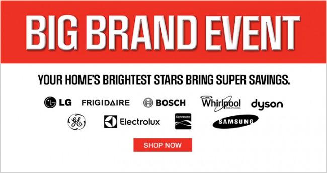 Sears Big Brand Event 3千余款商品特价销售,满24元立减10元!使用Sears信用卡结账送5倍积分,大件商品返运费!