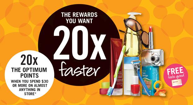 Shoppers Drug Mart本周六、日(10月3日-4日)持积分卡购物满30元送20倍积分(相当于7.5折)