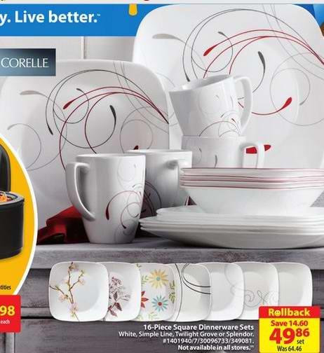 Walmart 多款 Corelle 餐具16件套装29.46元-49.86元特卖