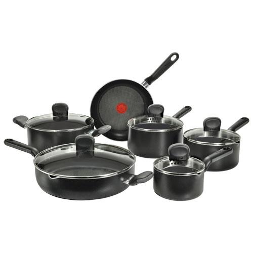 T-Fal Soft Line 11-Piece Cookware Set - Black 11件套炊具2.5折特卖